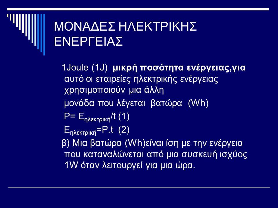 ΜΟΝΑΔΕΣ ΗΛΕΚΤΡΙΚΗΣ ΕΝΕΡΓΕΙΑΣ