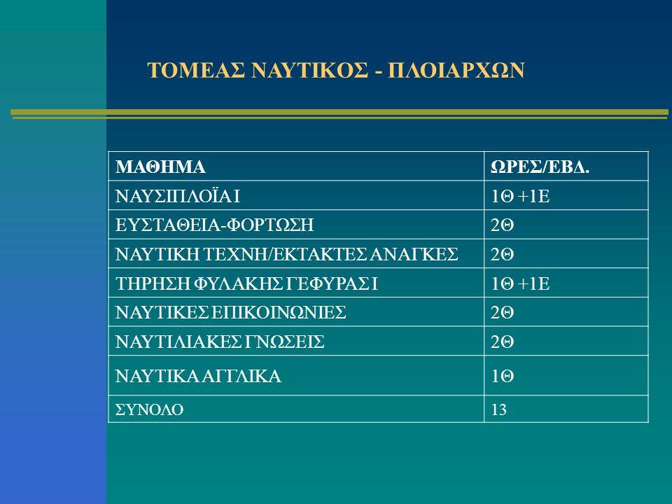 ΤΟΜΕΑΣ ΝΑΥΤΙΚΟΣ - ΠΛΟΙΑΡΧΩΝ
