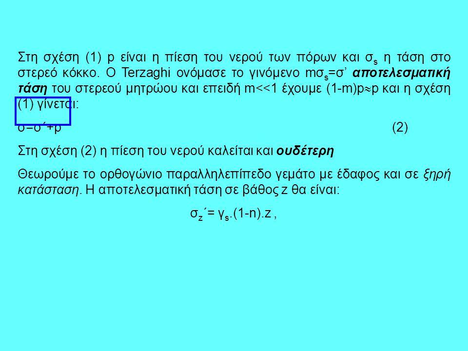 Στη σχέση (1) p είναι η πίεση του νερού των πόρων και σs η τάση στο στερεό κόκκο. Ο Terzaghi ονόμασε το γινόμενο mσs=σ' αποτελεσματική τάση του στερεού μητρώου και επειδή m<<1 έχουμε (1-m)pp και η σχέση (1) γίνεται: