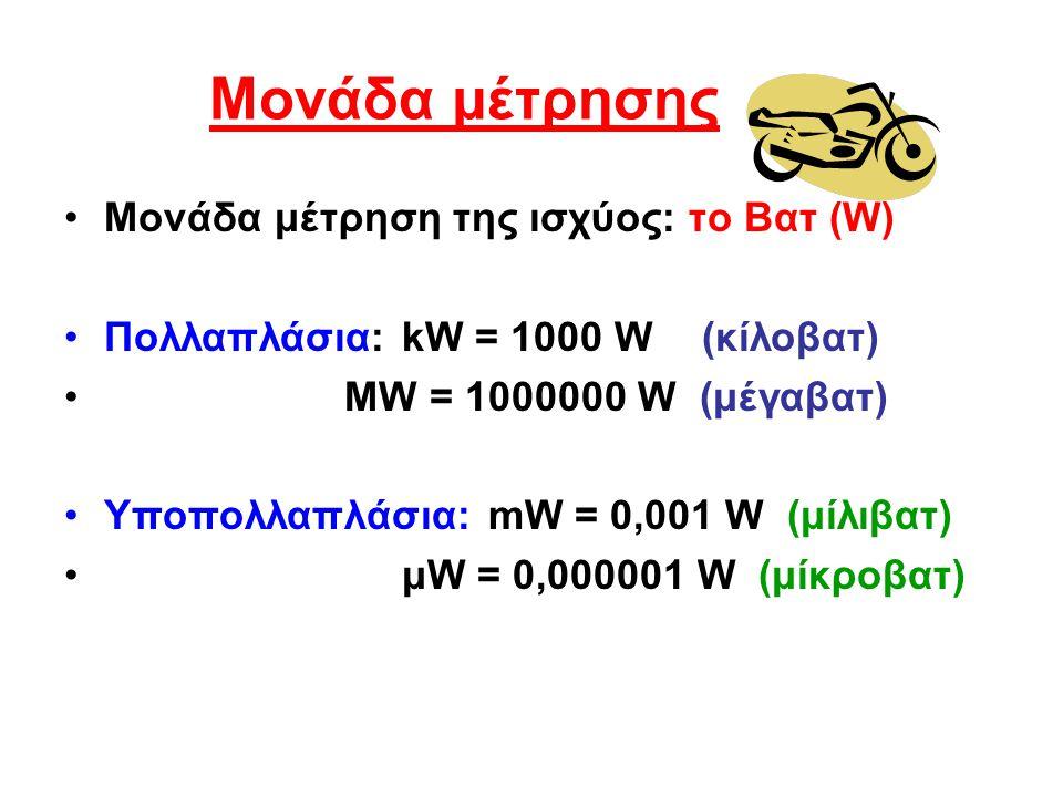 Μονάδα μέτρησης Μονάδα μέτρηση της ισχύος: το Βατ (W)