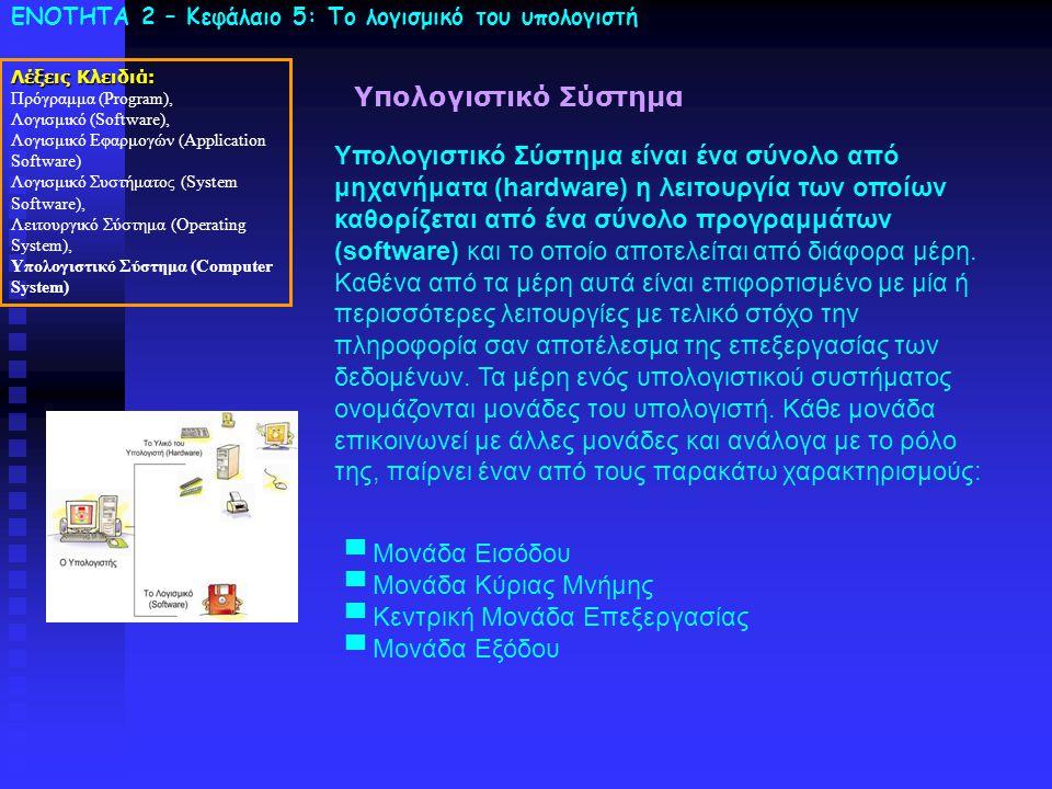 ΕΝΟΤΗΤΑ 2 – Κεφάλαιο 5: To λογισμικό του υπολογιστή