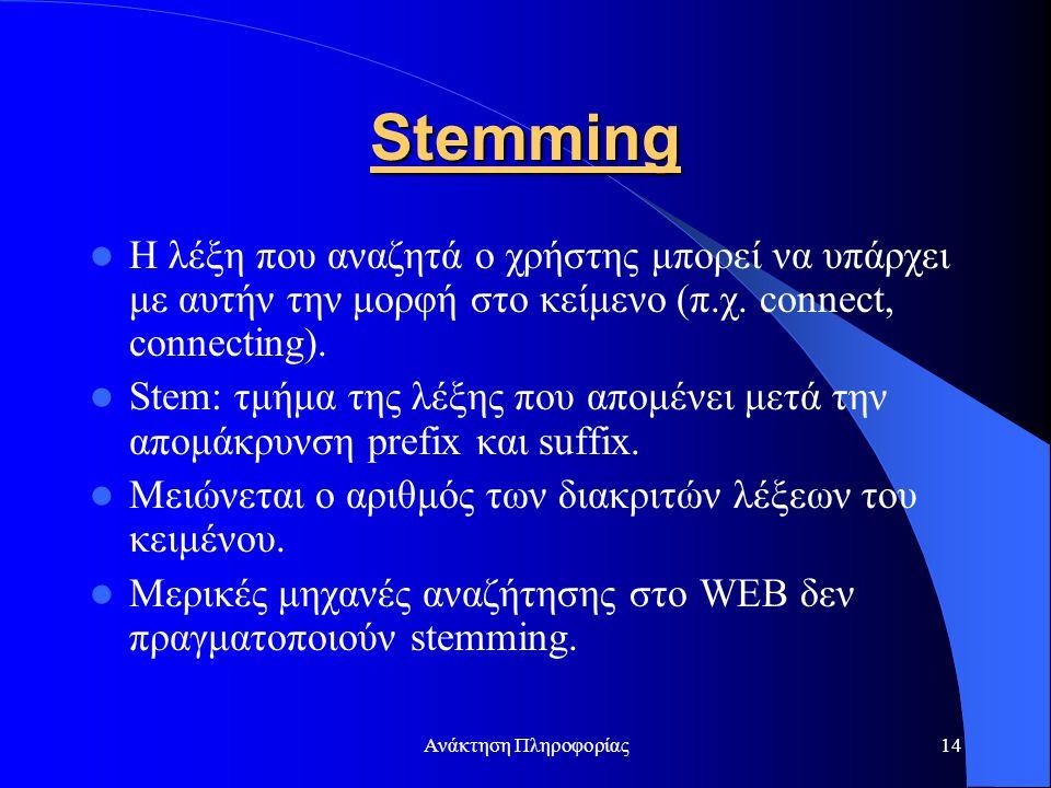Stemming Η λέξη που αναζητά ο χρήστης μπορεί να υπάρχει με αυτήν την μορφή στο κείμενο (π.χ. connect, connecting).