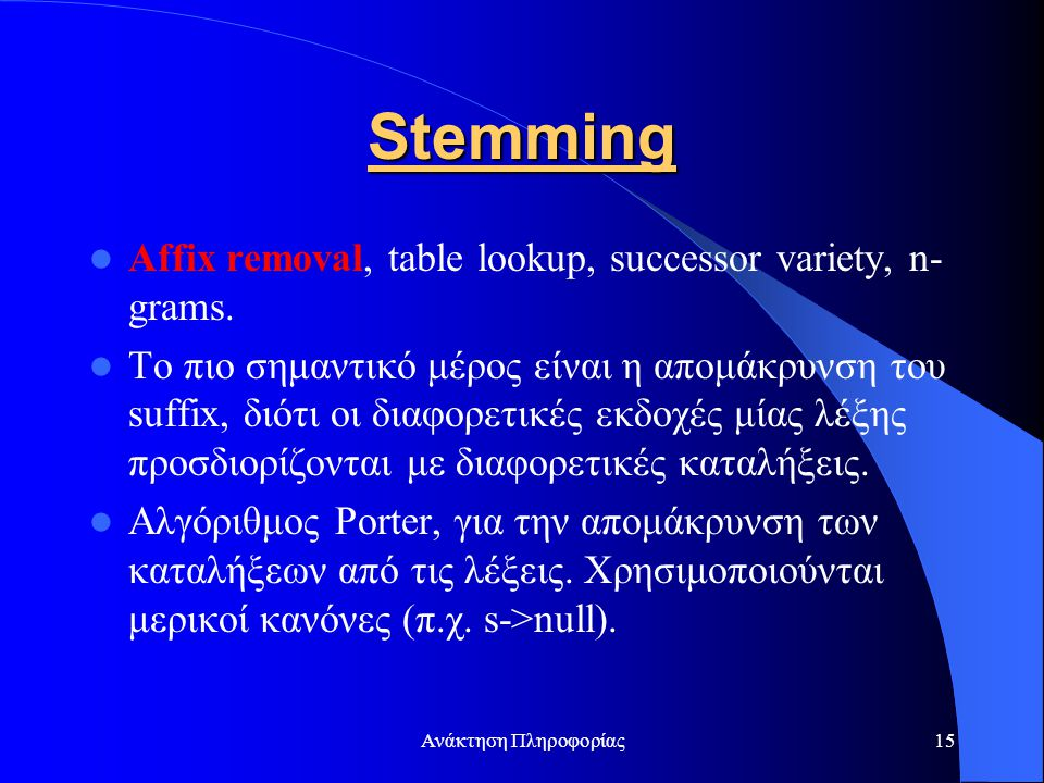 Stemming Affix removal, table lookup, successor variety, n-grams.