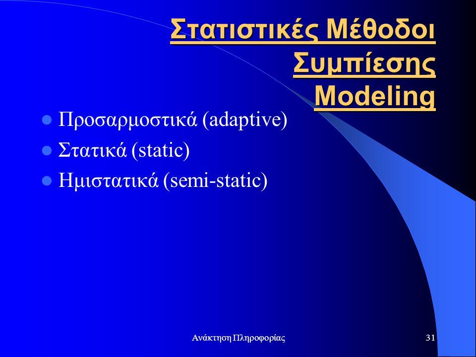 Στατιστικές Μέθοδοι Συμπίεσης Modeling