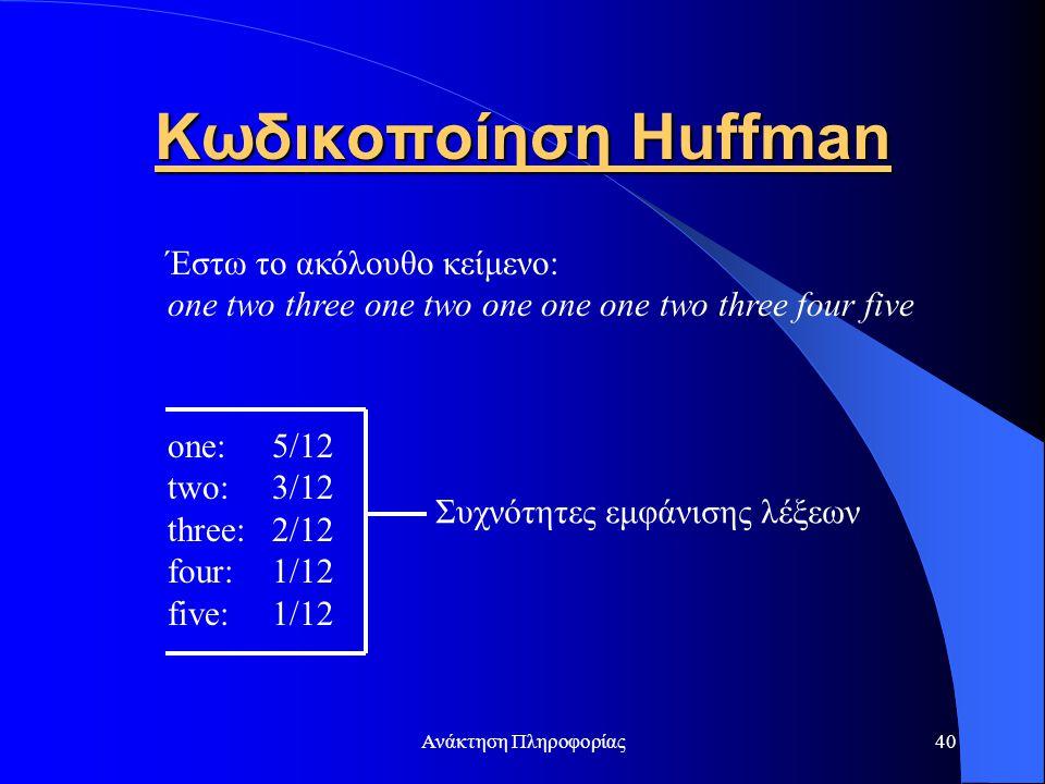 Κωδικοποίηση Huffman Έστω το ακόλουθο κείμενο:
