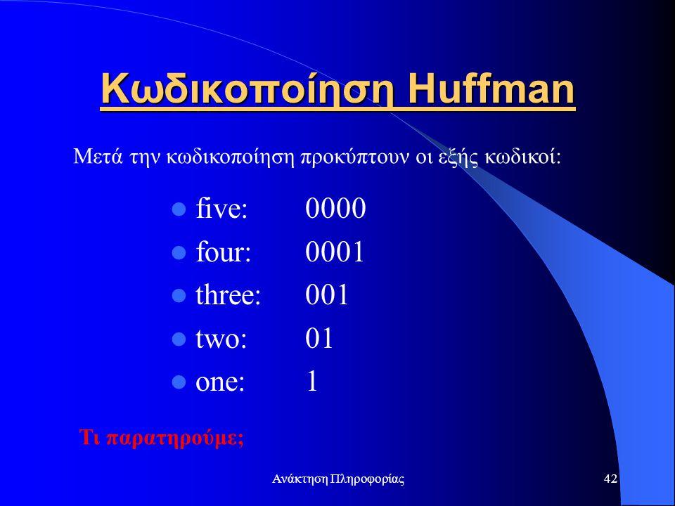 Κωδικοποίηση Huffman five: 0000 four: 0001 three: 001 two: 01 one: 1
