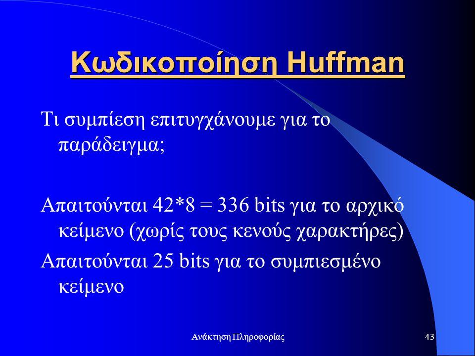 Κωδικοποίηση Huffman Τι συμπίεση επιτυγχάνουμε για το παράδειγμα;