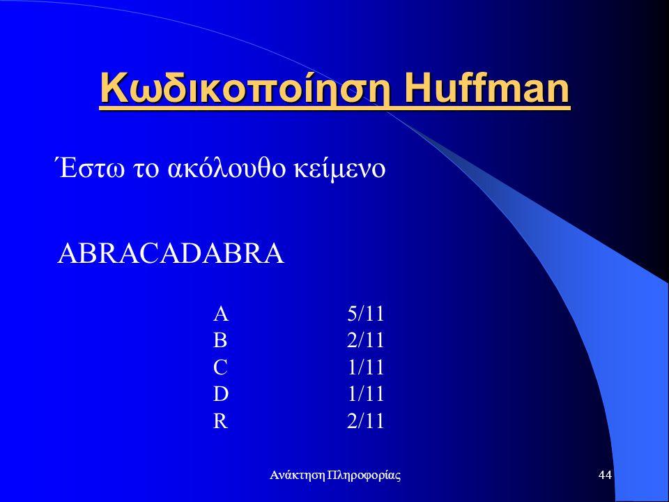Κωδικοποίηση Huffman Έστω το ακόλουθο κείμενο ABRACADABRA A 5/11