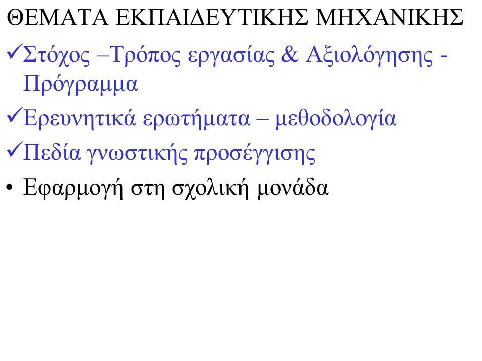 ΘΕΜΑΤΑ ΕΚΠΑΙΔΕΥΤΙΚΗΣ ΜΗΧΑΝΙΚΗΣ