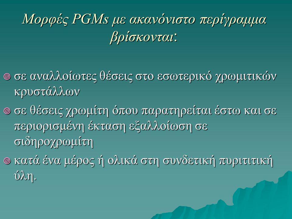 Μορφές PGMs με ακανόνιστο περίγραμμα βρίσκονται: