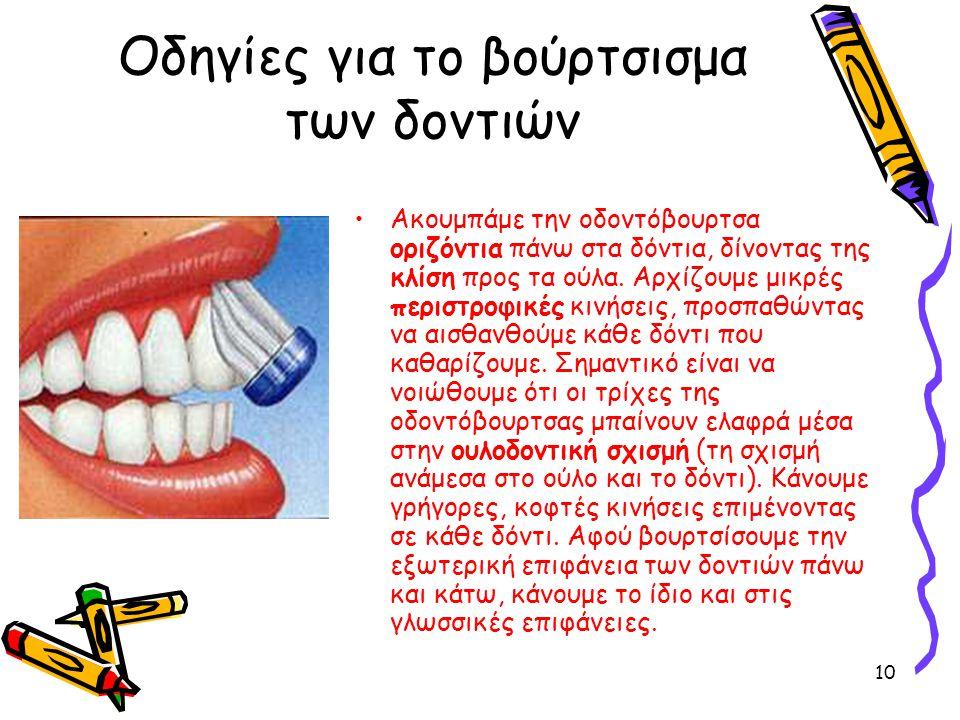 Οδηγίες για το βούρτσισμα των δοντιών