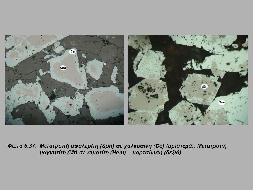 Φωτο 5. 37. Μετατροπή σφαλερίτη (Sph) σε χαλκοσίνη (Cc) (αριστερά)