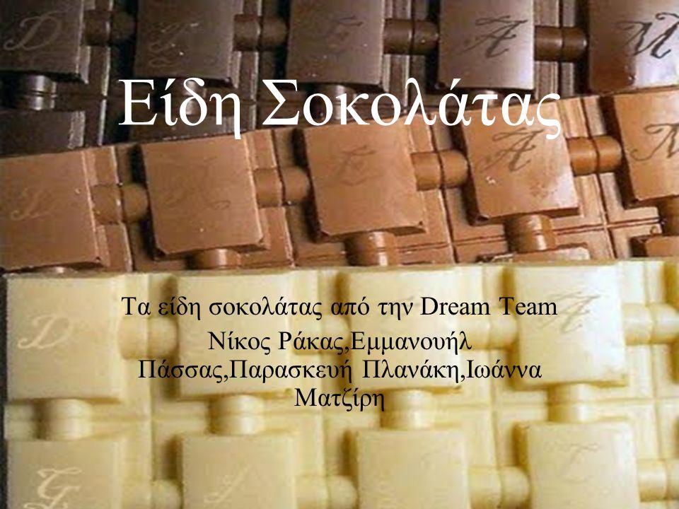 Είδη Σοκολάτας Τα είδη σοκολάτας από την Dream Team