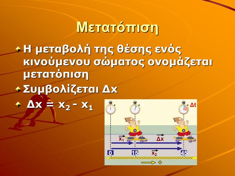 Μετατόπιση Η μεταβολή της θέσης ενός κινούμενου σώματος ονομάζεται μετατόπιση. Συμβολίζεται Δx. Δx = x2 - x1.