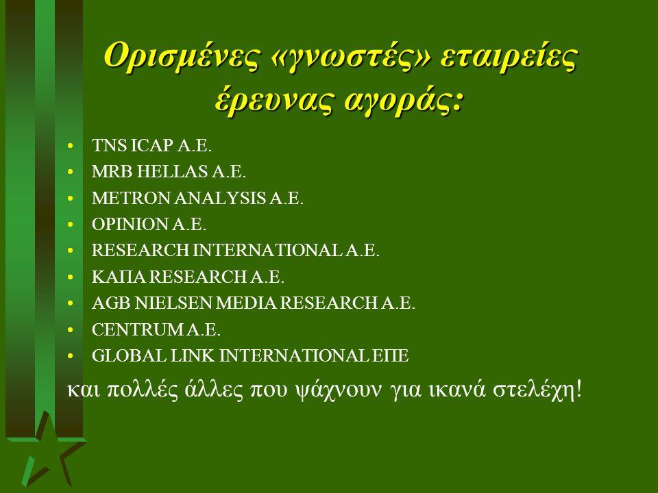 Ορισμένες «γνωστές» εταιρείες έρευνας αγοράς:
