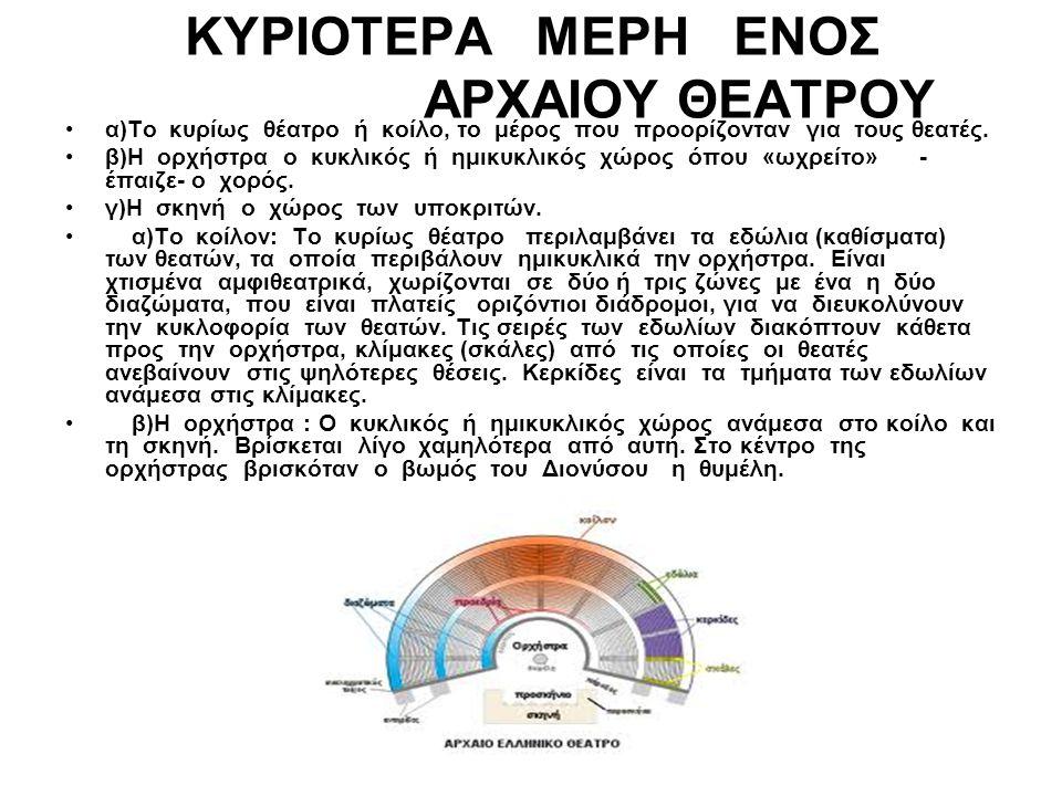 ΚΥΡΙΟΤΕΡΑ ΜΕΡΗ ΕΝΟΣ ΑΡΧΑΙΟΥ ΘΕΑΤΡΟΥ