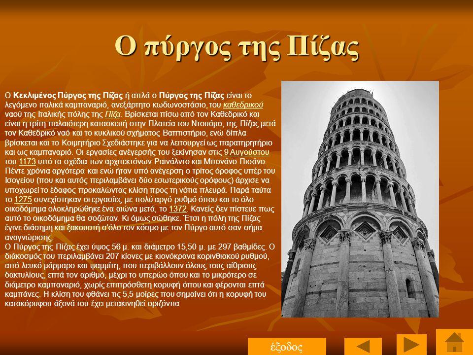 Ο πύργος της Πίζας έξοδος