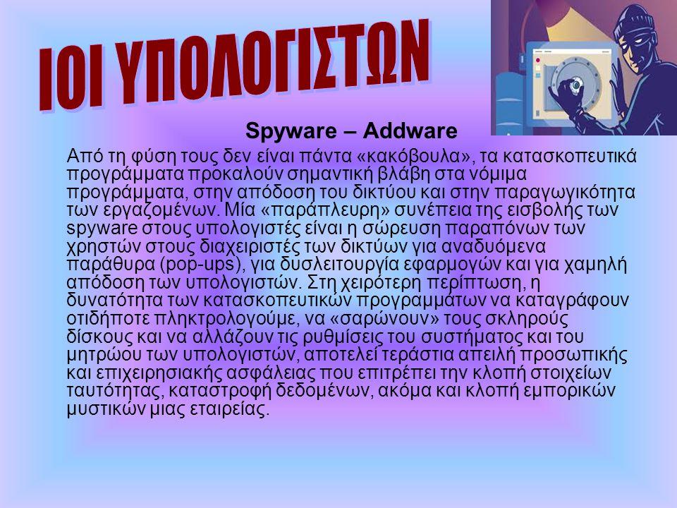 ΙΟΙ ΥΠΟΛΟΓΙΣΤΩΝ Spyware – Addware