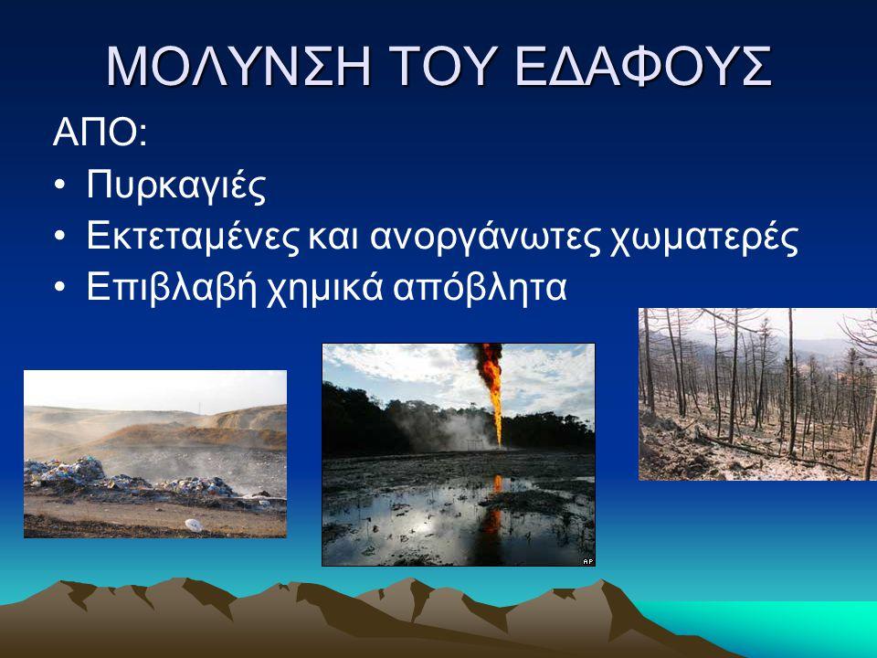 ΜΟΛΥΝΣΗ ΤΟΥ ΕΔΑΦΟΥΣ ΑΠΟ: Πυρκαγιές