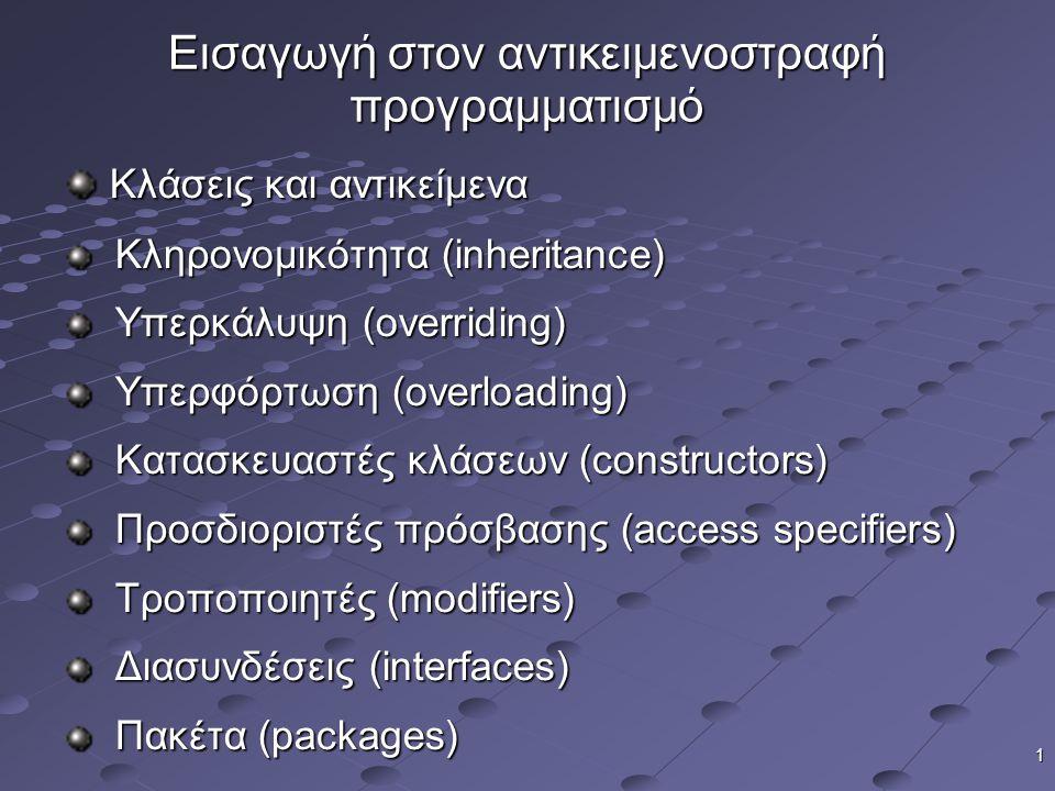 Εισαγωγή στον αντικειμενοστραφή προγραμματισμό
