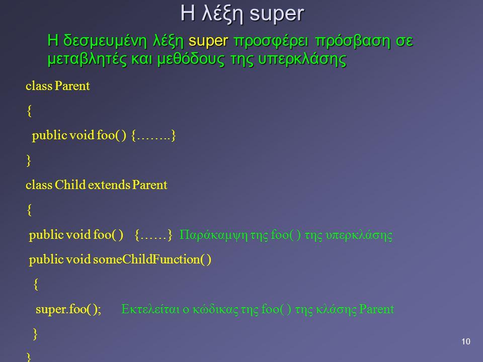 Η λέξη super Η δεσμευμένη λέξη super προσφέρει πρόσβαση σε μεταβλητές και μεθόδους της υπερκλάσης.
