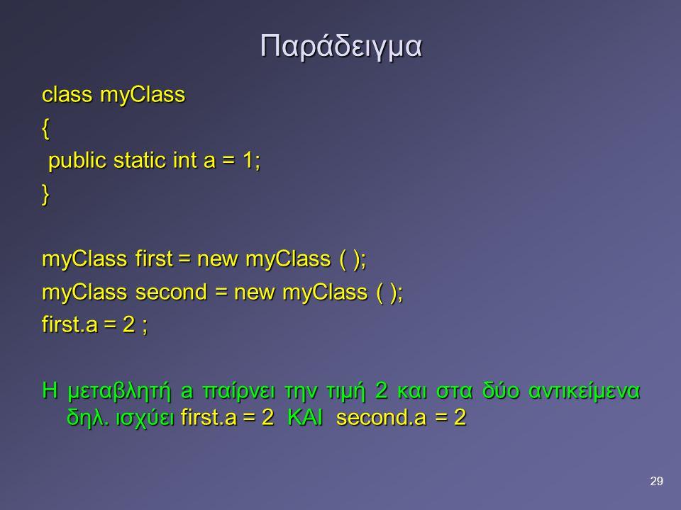 Παράδειγμα class myClass { public static int a = 1; }