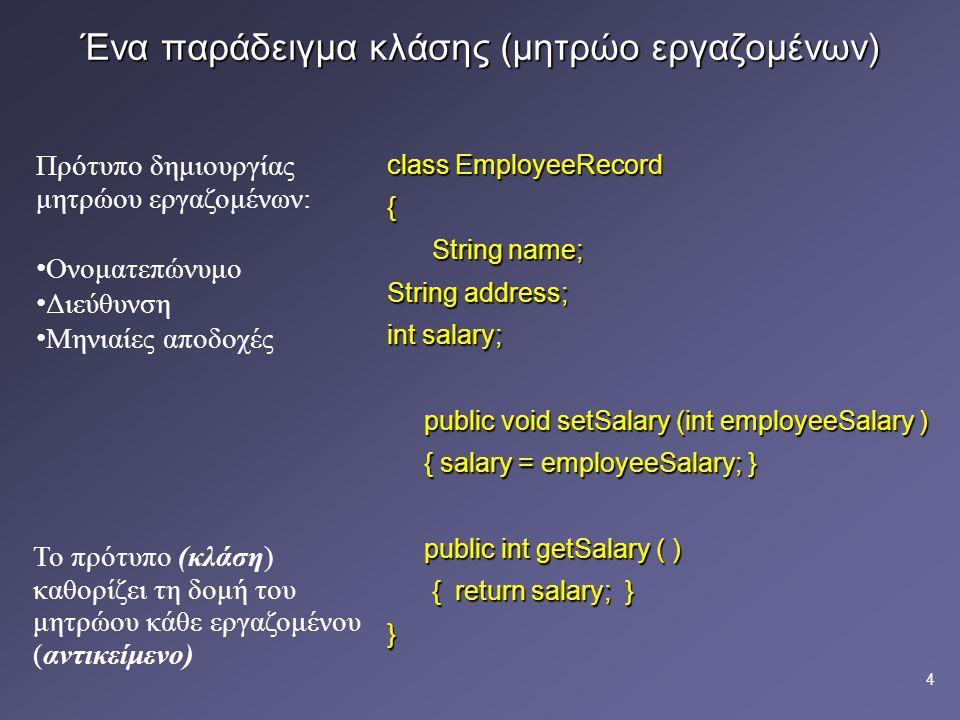 Ένα παράδειγμα κλάσης (μητρώο εργαζομένων)