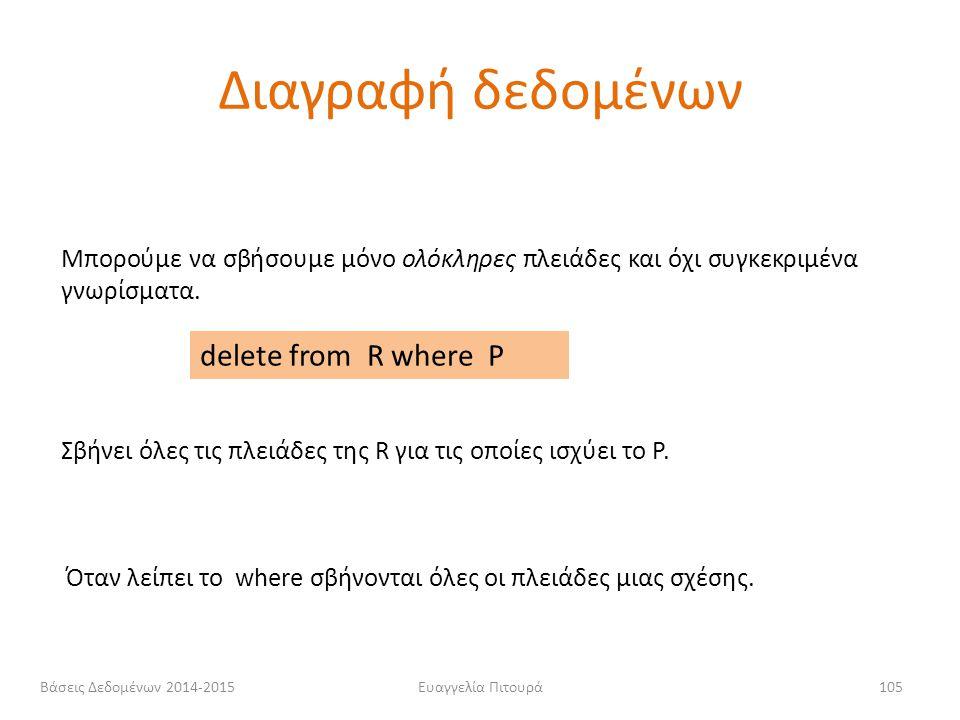 Διαγραφή δεδομένων delete from R where P
