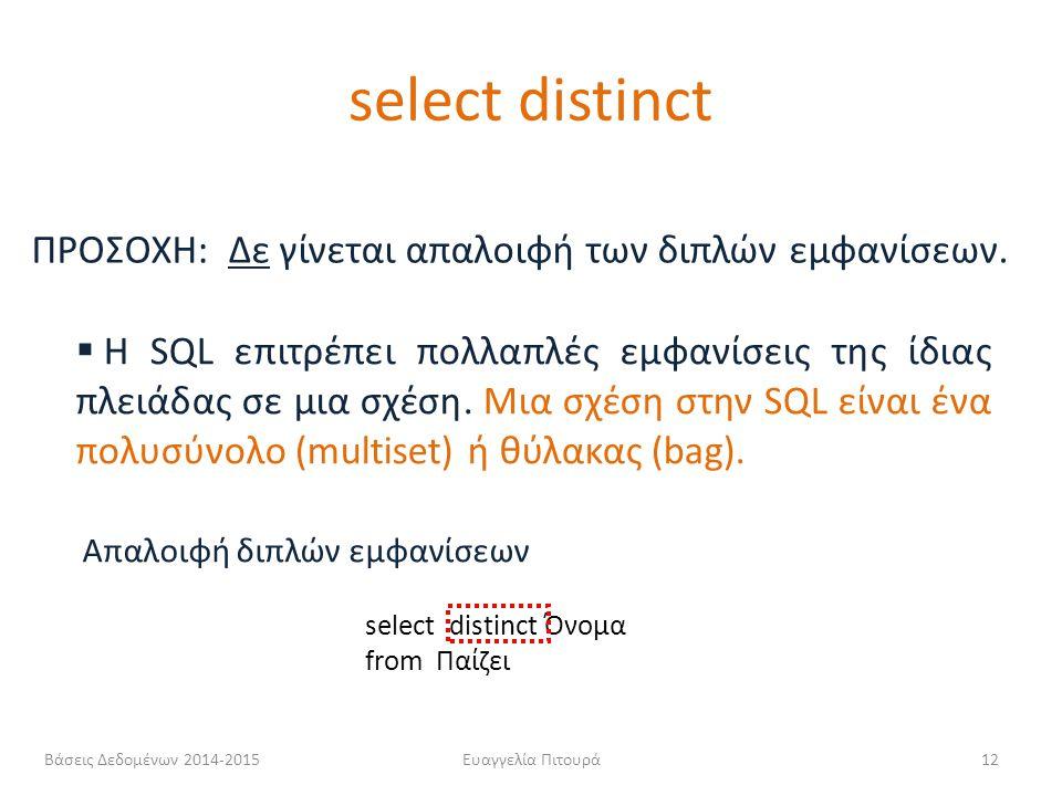 select distinct ΠΡΟΣΟΧΗ: Δε γίνεται απαλοιφή των διπλών εμφανίσεων.
