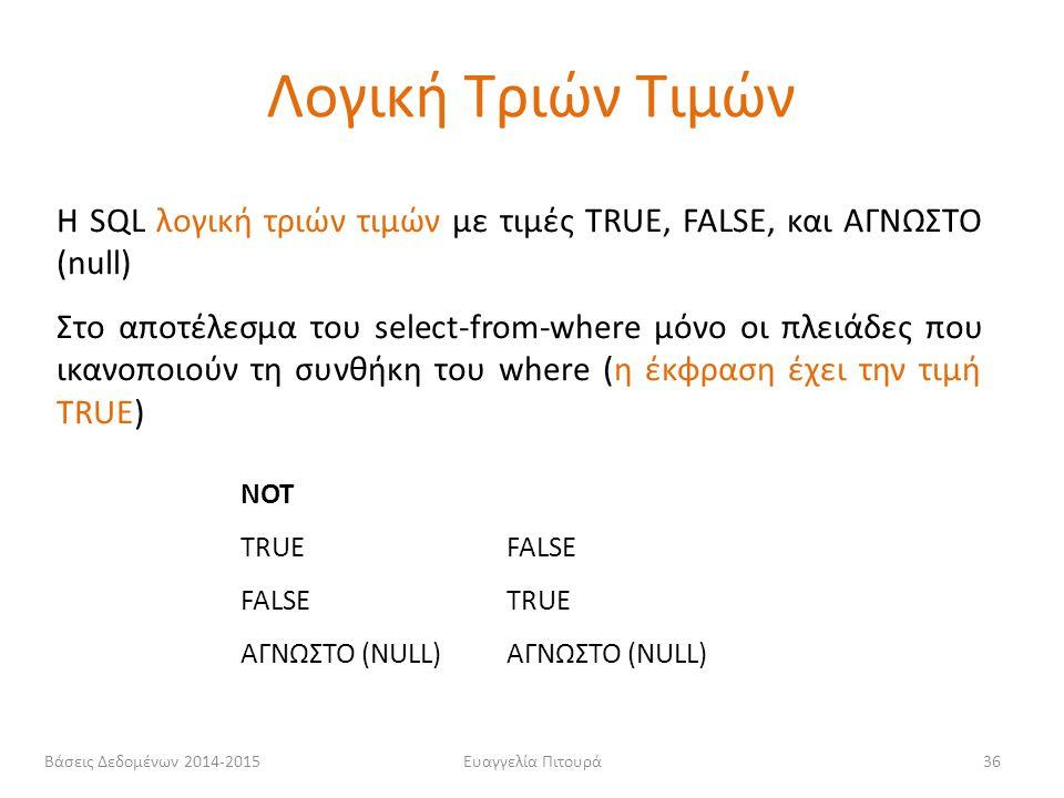 Λογική Τριών Τιμών Η SQL λογική τριών τιμών με τιμές TRUE, FALSE, και ΑΓΝΩΣΤΟ (null)