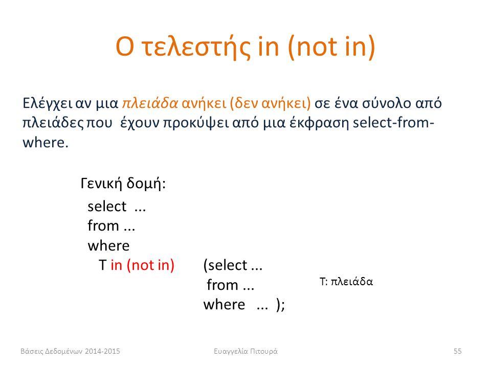 Ο τελεστής in (not in) Ελέγχει αν μια πλειάδα ανήκει (δεν ανήκει) σε ένα σύνολο από πλειάδες που έχουν προκύψει από μια έκφραση select-from-where.