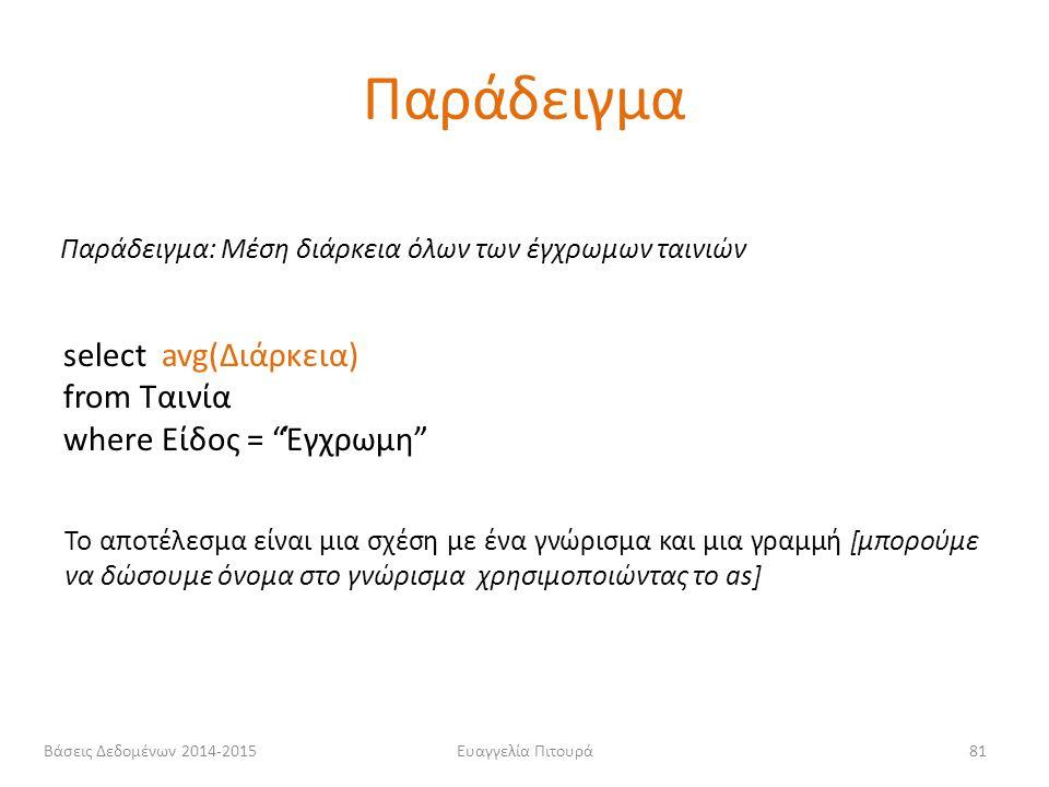 Παράδειγμα select avg(Διάρκεια) from Ταινία where Είδος = Έγχρωμη