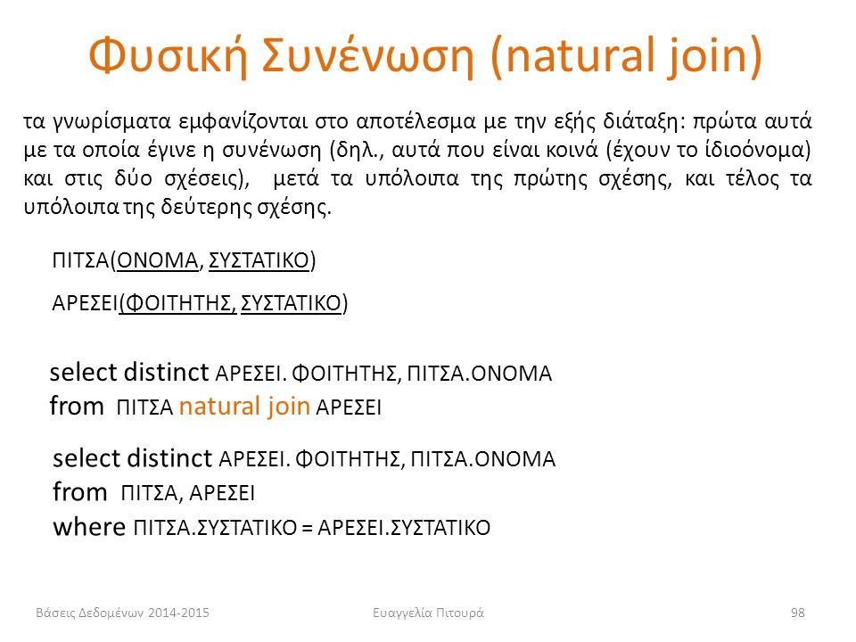 Φυσική Συνένωση (natural join)