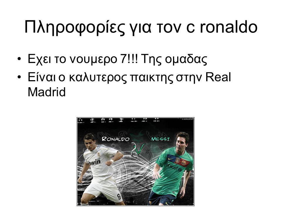 Πληροφορίες για τον c ronaldo
