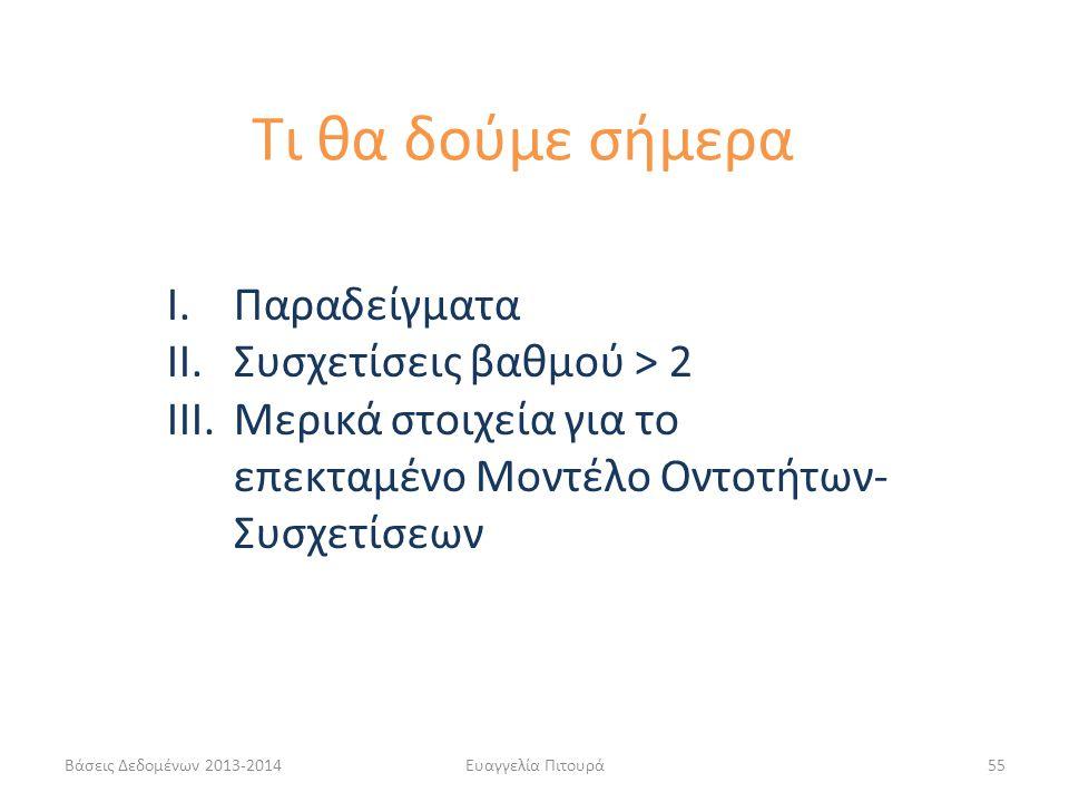 Τι θα δούμε σήμερα Παραδείγματα Συσχετίσεις βαθμού > 2