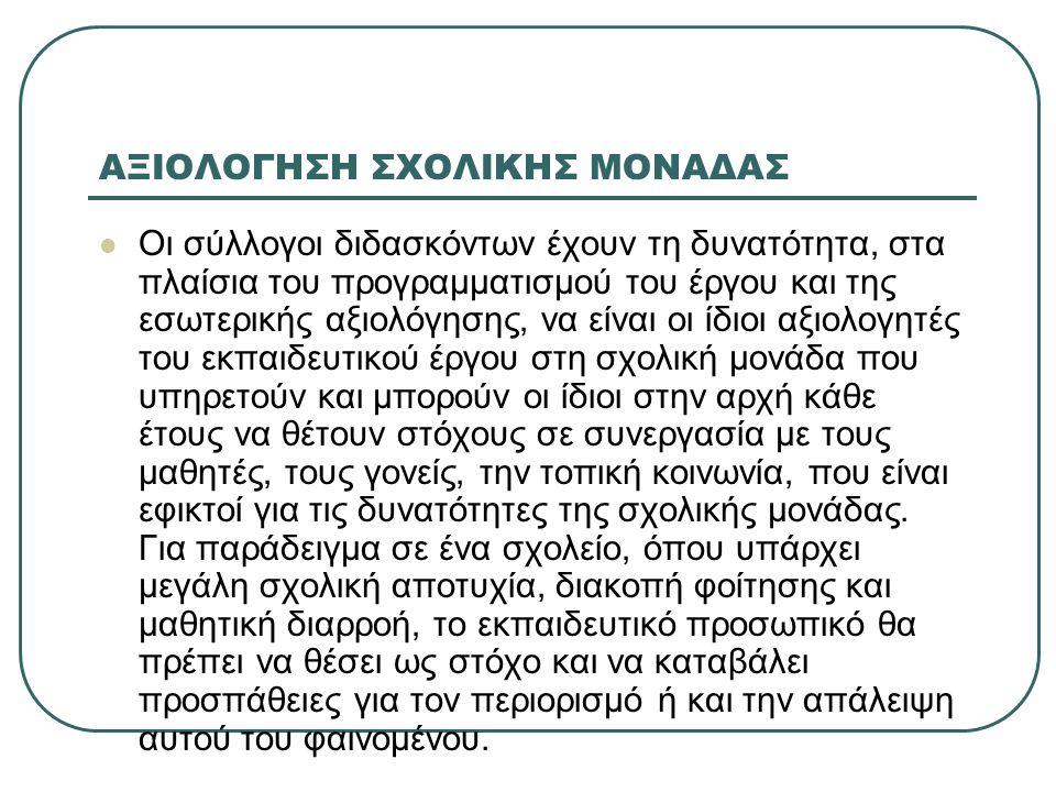 ΑΞΙΟΛΟΓΗΣΗ ΣΧΟΛΙΚΗΣ ΜΟΝΑΔΑΣ