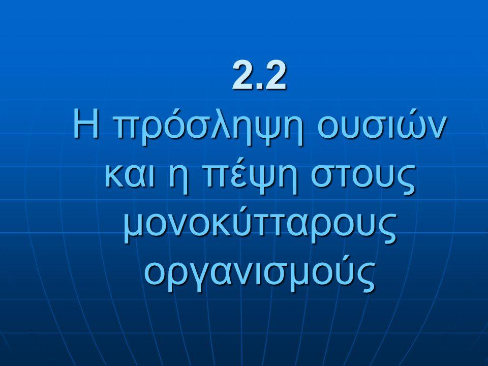 2.2 Η πρόσληψη ουσιών και η πέψη στους μονοκύτταρους οργανισμούς