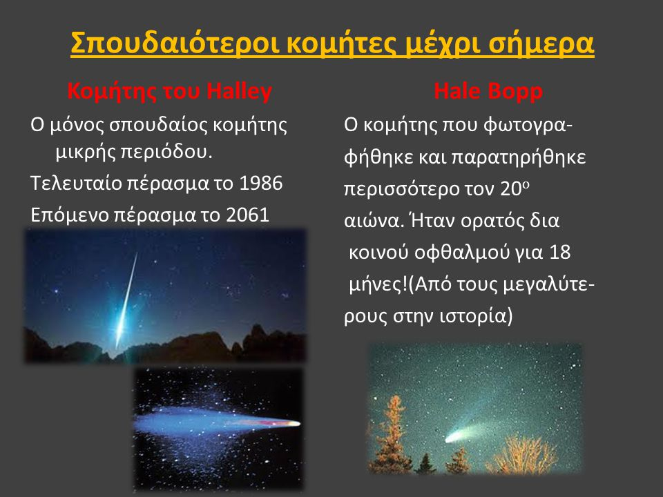 Σπουδαιότεροι κομήτες μέχρι σήμερα