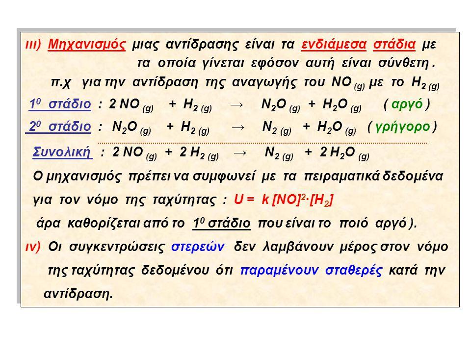 ιιι) Μηχανισμός μιας αντίδρασης είναι τα ενδιάμεσα στάδια με