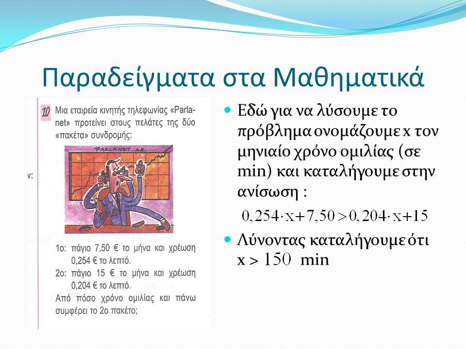 Παραδείγματα στα Μαθηματικά