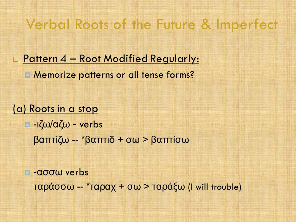 Verbal Roots of the Future & Imperfect