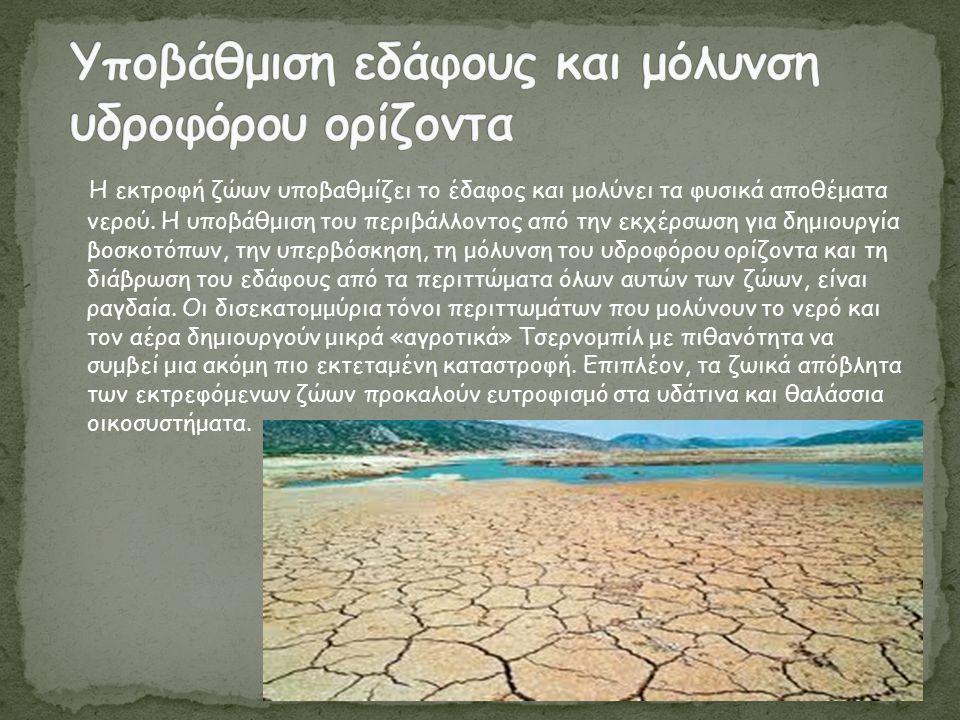 Υποβάθμιση εδάφους και μόλυνση υδροφόρου ορίζοντα