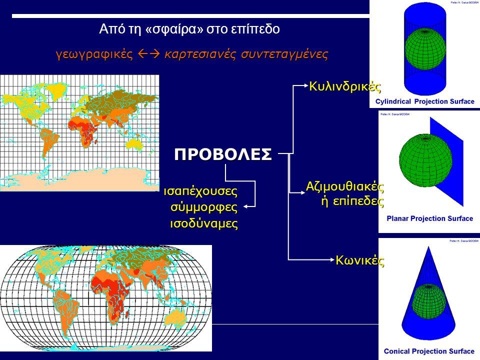γεωγραφικές  καρτεσιανές συντεταγμένες