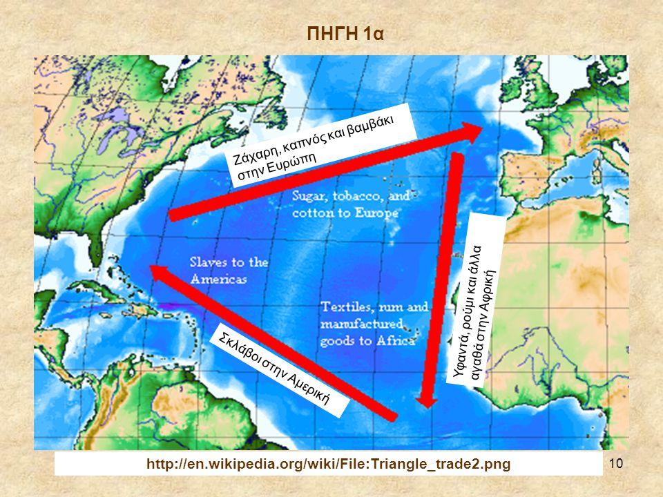 ΠΗΓΗ 1α http://en.wikipedia.org/wiki/File:Triangle_trade2.png