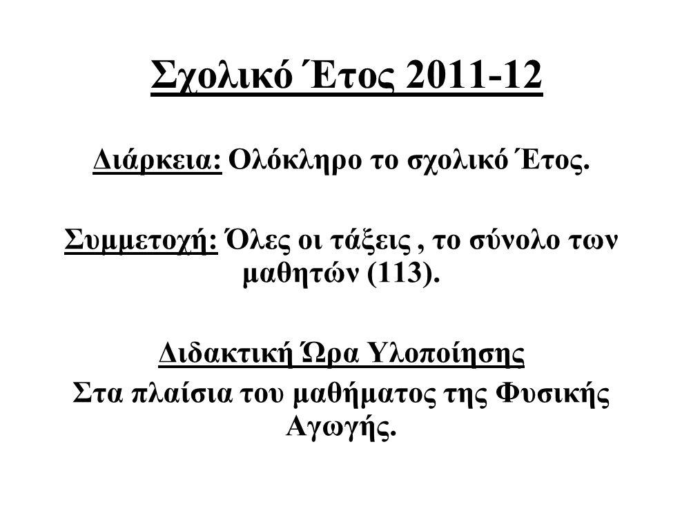 Σχολικό Έτος 2011-12 Διάρκεια: Ολόκληρο το σχολικό Έτος.