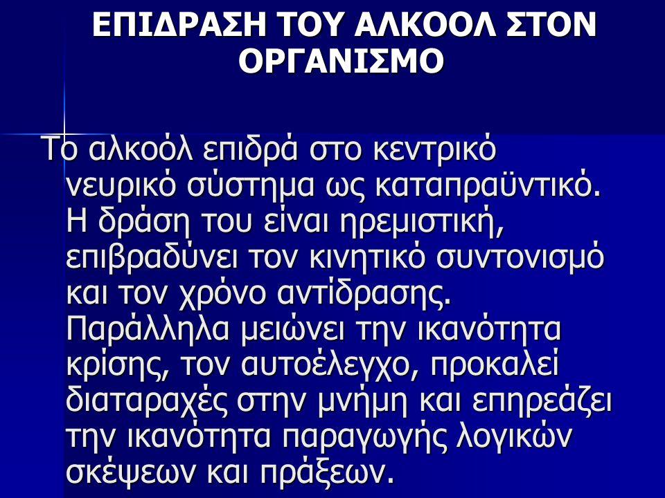 ΕΠΙΔΡΑΣΗ ΤΟΥ ΑΛΚΟΟΛ ΣΤΟΝ ΟΡΓΑΝΙΣΜΟ