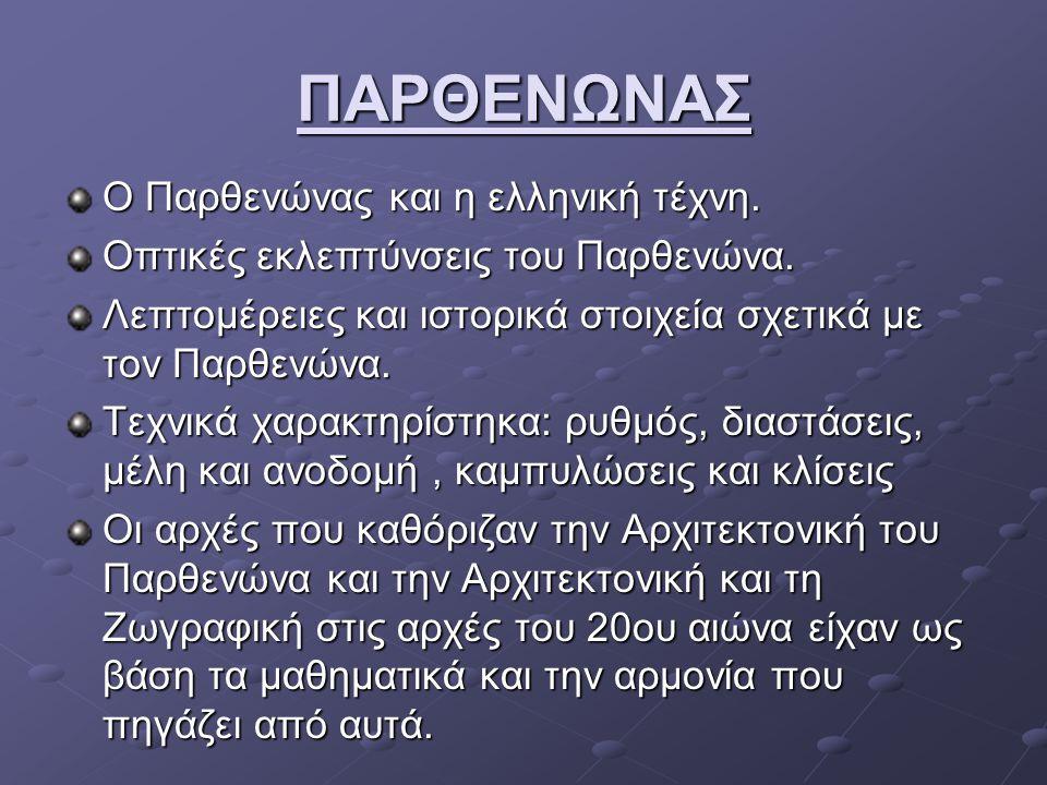 ΠΑΡΘΕΝΩΝΑΣ Ο Παρθενώνας και η ελληνική τέχνη.