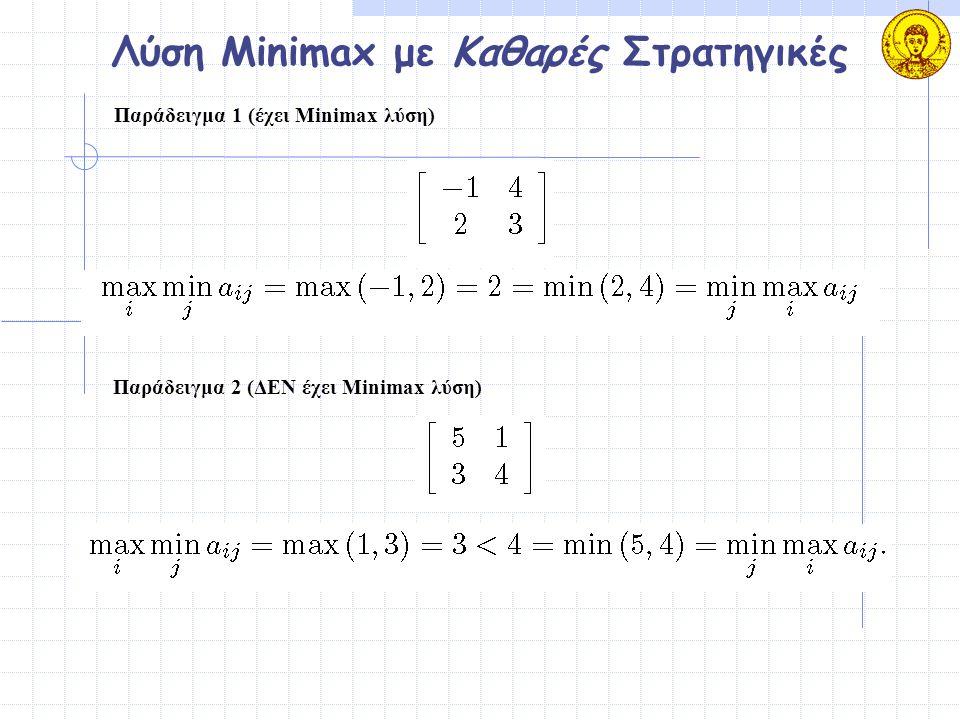 Λύση Minimax με Καθαρές Στρατηγικές