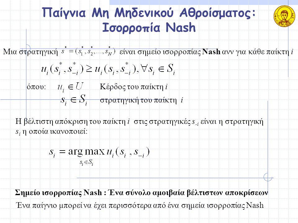 Παίγνια Μη Μηδενικού Αθροίσματος: Ισορροπία Nash