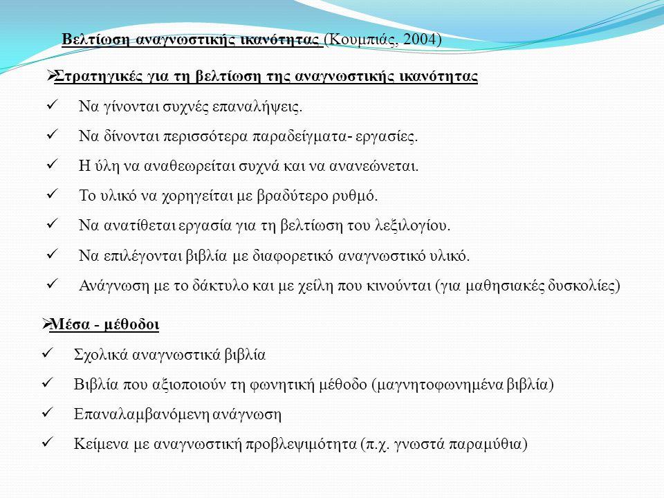 Βελτίωση αναγνωστικής ικανότητας (Κουμπιάς, 2004)